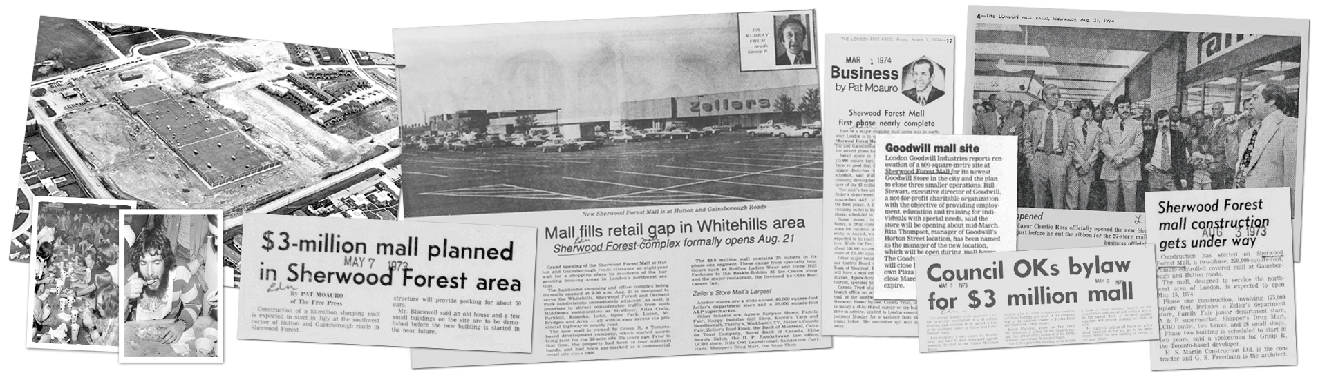 Sherwood Forest Mall Newspaper Clippings Banner